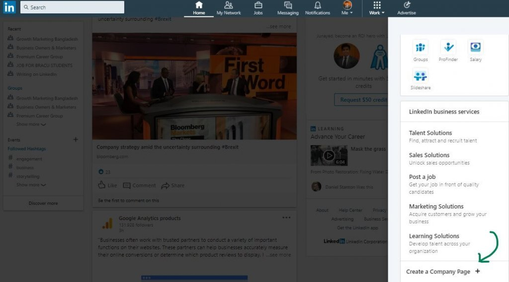 LinkedIn Company Page Opening