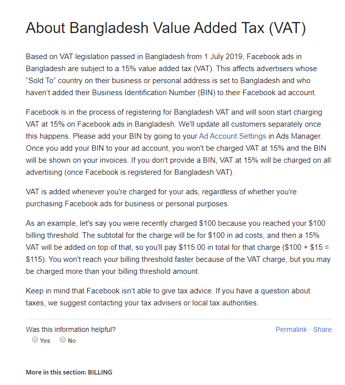 VAT ON FACECBOOK ADS