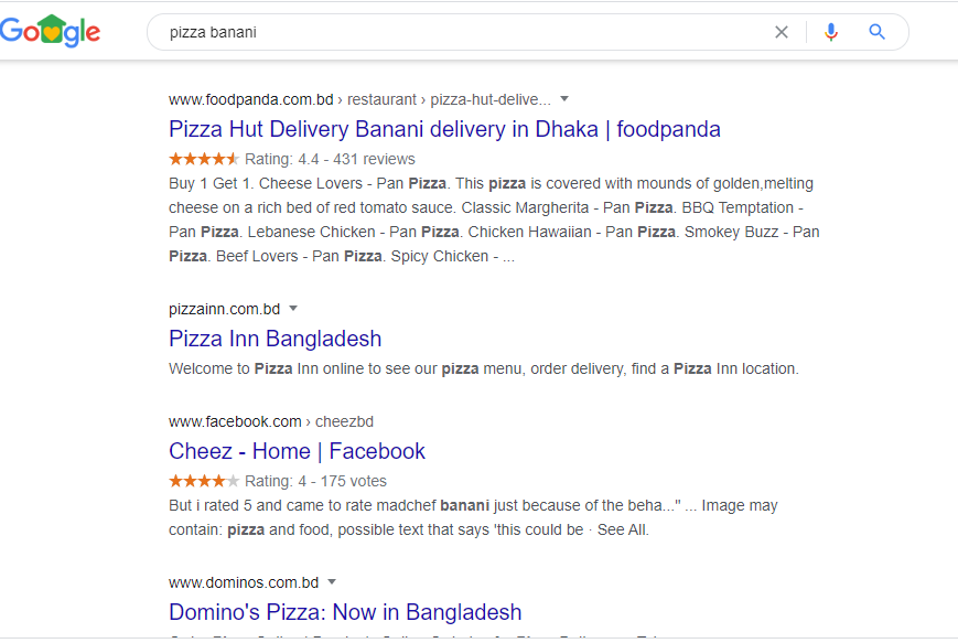 "Google search for ""pizza Bangladesh"""