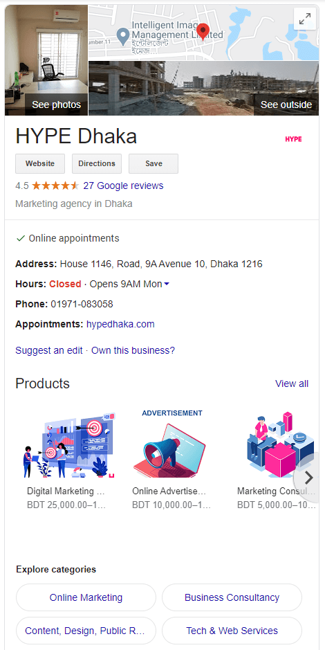 Google My Business HYPE Dhaka Local Marketing Example