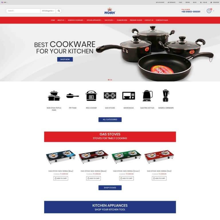 Noah Cookware Homepage