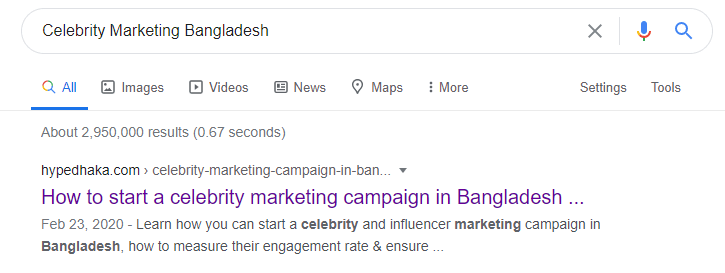 Celebrity Marketing Campaign Bangladesh Title Tag for SEO Service