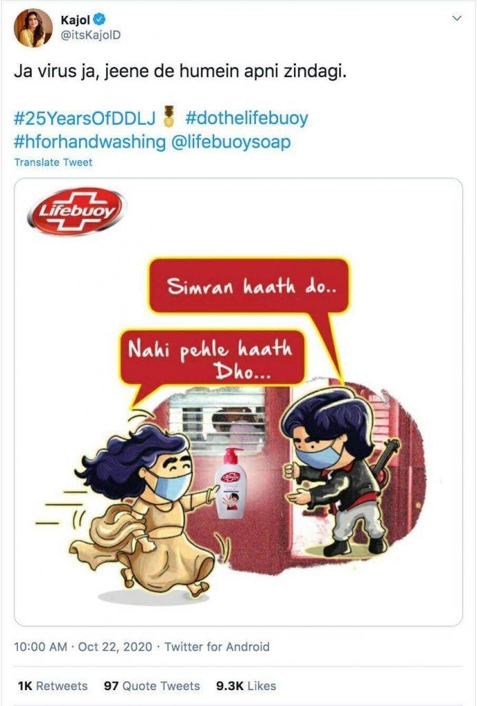 Kajol-sharing-DDLJ-Memes-sponsored-by-Lifeboy Content Marketing Example