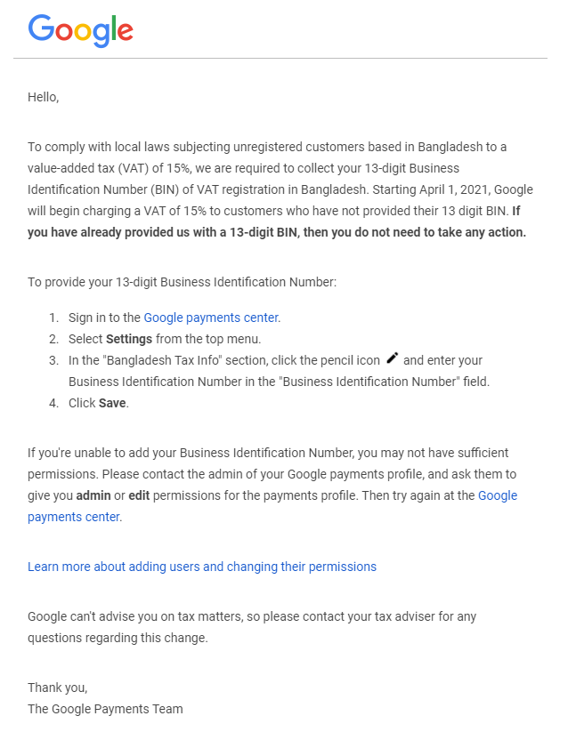 Google Ads Legal Notice in Bangladesh to Comply with the local laws