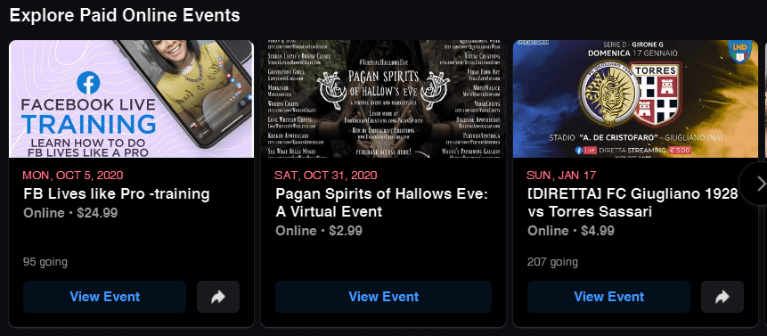 Paid Online Events Facebook Example